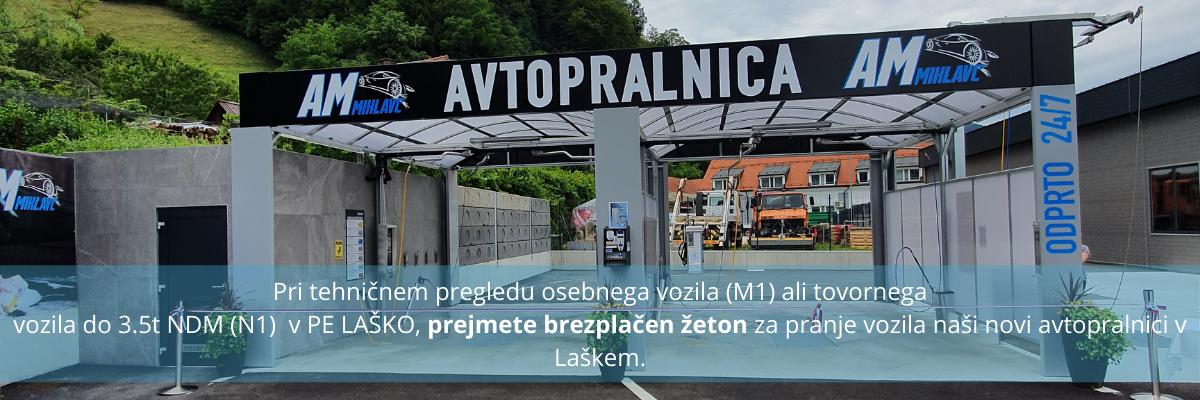 Pri tehničnem pregledu osebnega vozila (M1) ali tovornega vozila do 3.5t NDM (N1) v PE LAŠKO, prejmete brezplačen žeton za pranje v vozila naši novi avtopralnici v Laškem. (1)